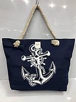 "Пляжна сумка 2082 ""Якір"" синя жіноча текстильна на канатах"
