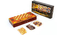 Настольная игра 3 в 1 Шахматы + Нарды + Нарды 5009: дерево, размер доски 40х40см