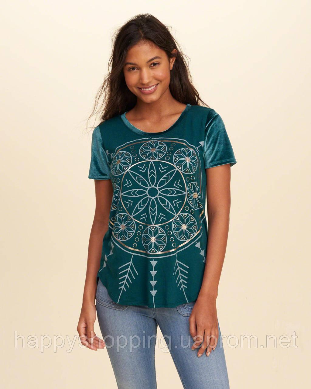 Зеленая футболка  с принтом Hollister