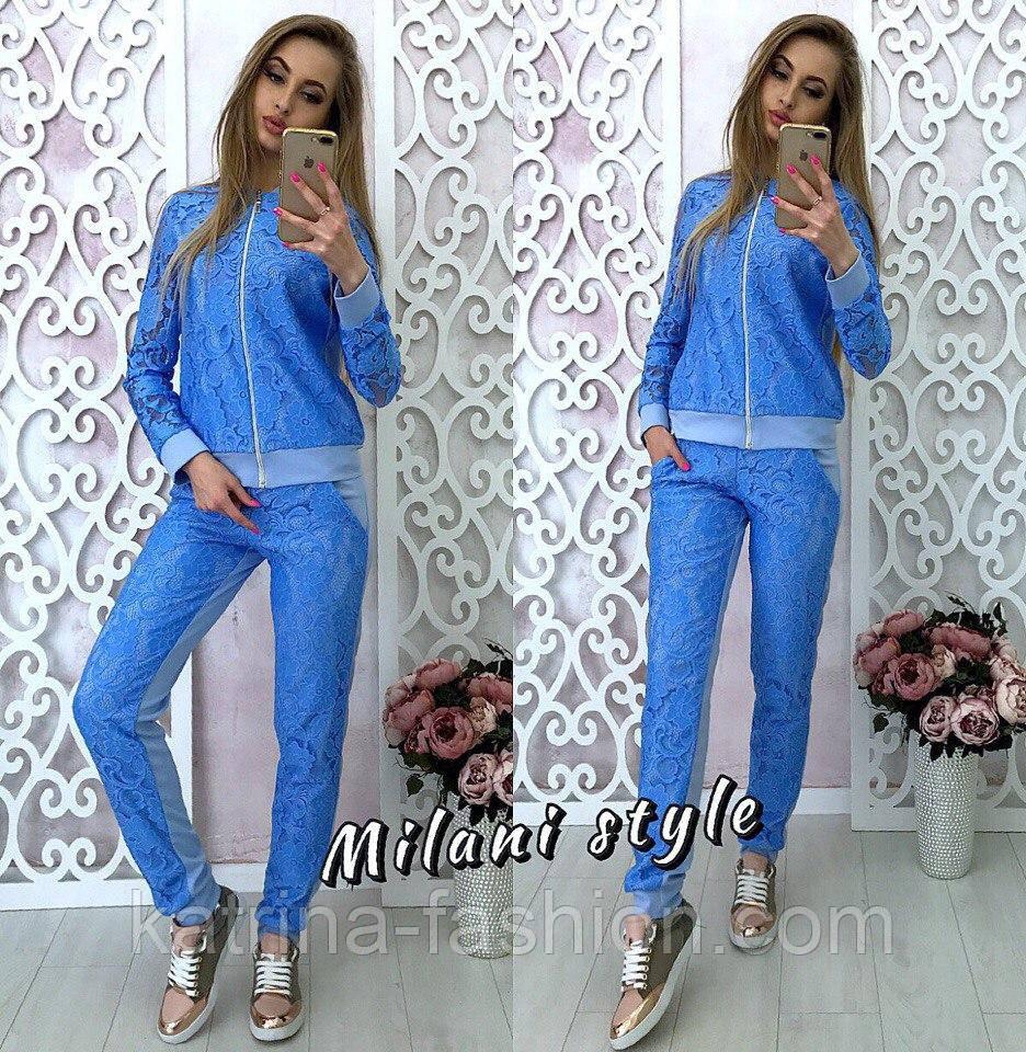 9a5da60346a Женский стильный костюм с гипюром (5 цветов)  продажа