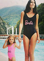 Купальники сдельные мама и дочка с надписью Барби, фото 1