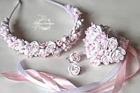 """Свадебный комплект украшений """"Бело-розовый жасмин"""" ()"""", фото 1"""