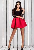 """Нарядное приталенное мини-платье """"Светлана"""" с гипюровым верхом (2 цвета)"""