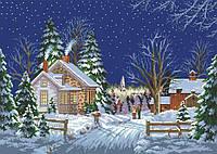 Схема для вышивки на канве Зимний вечер 01153