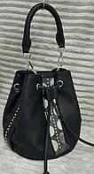 Модная и стильная женская сумка-мешок эко-кожа черная