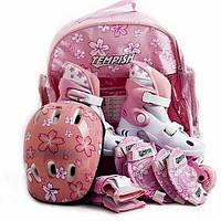 Раздвижные роликовые коньки для девочки Tempish Baby skate розовые, р.34-37, Киев