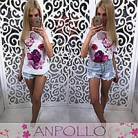Женская модная белая футболка с принтами (8 принтов)