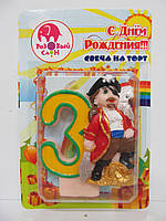 """Свеча цифра в торт """"3"""" Пират"""