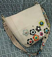 Модная женская сумка с цветами цвет бежевый