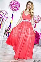 Элегантное женское платье в пол с поясом(съемный),ткань масло атлас шифон,цвет розовый,красный
