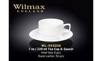 Чашка для чая с блюдцем 220 мл. белая фарфоровая Wilmax WL-993008