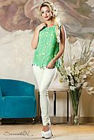 Женская летняя нарядная блуза бирюзовая