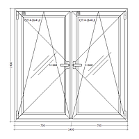 Окно металлопластиковое двухстворчатое 1400х1400 мм поворотно откидное