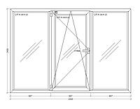 Окно металлопластиковое трехстворчатое 2000х1400 мм поворотно откидное