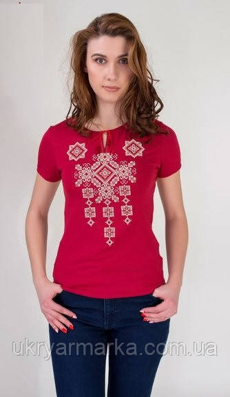 "Жіноча вишита футболка ""Писанка"" бордова"