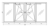 Окно металлопластиковое четырехстворчатое 3000х1400 мм поворотно откидное