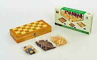 Настольная игра 3 в 1 Шахматы + Нарды + Нарды 3517: дерево, размер доски 35х35см