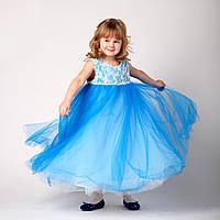 Пышное платье для девочки 3 - 5 лет. Нарядное пышное платье голубого цвета на девочку 3,5 лет.