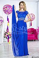 Нарядное женское платье в пол с гипюровым верхом и с поясом(съемный),ткань масло атлас шифон,цвет красный,элек