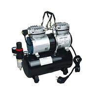 Двухцилиндровый компрессор для аэрографа с ресивером