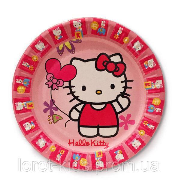 "Тарелки бумажные одноразовые детские  Hello Kitty ""Китти"", 18 см, 10 шт/уп."