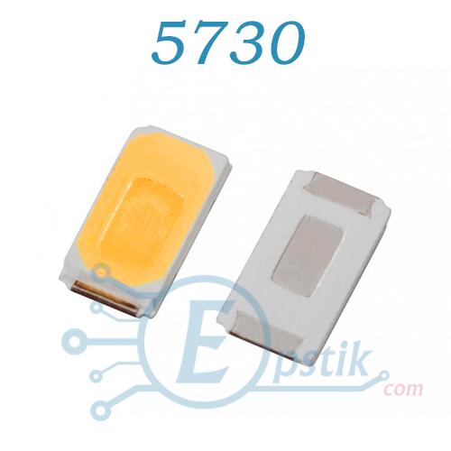 Светодиод 5730 (5630), белый теплый, 0.5Вт. 3.3в, SMD