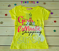 Модная  футболка для девочки Романтика желтенькая    рост 110-128, фото 1