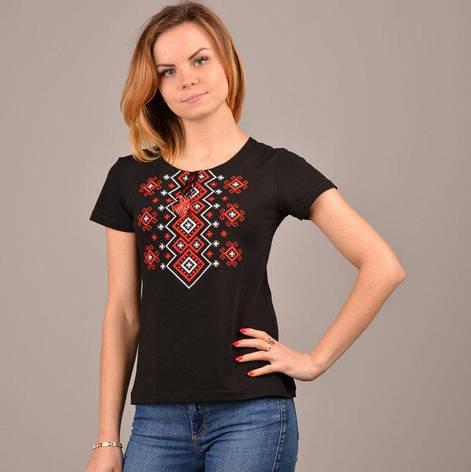 Орнамент черная вышитая футболка, фото 2