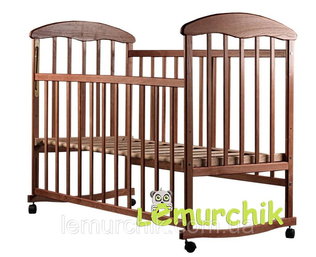 Ліжко дитяче Наталка ясен темна (колеса, гойдалка, опускання борту)