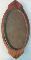 Сковорода чугун на деревянной подставке
