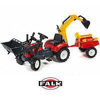 Трактор на педалях с прицепом, передним и задним ковшами Falk 2051CN красный