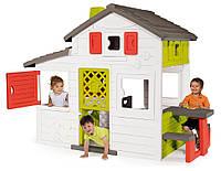 Домик детский игровой Friends House Smoby - Франция - столик и скамейки снаружи/внутри