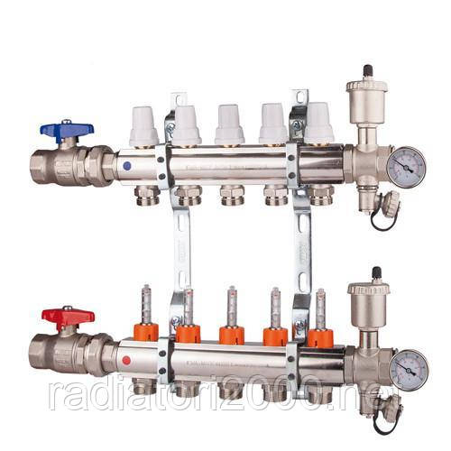 Коллектор  регулировка ручная или терморегулирующая на 6 выходов