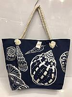 """Пляжная сумка 2072 """"Ракушки большие"""" синяя женская текстильная на канатах 54 см х 36 см х 12 см"""