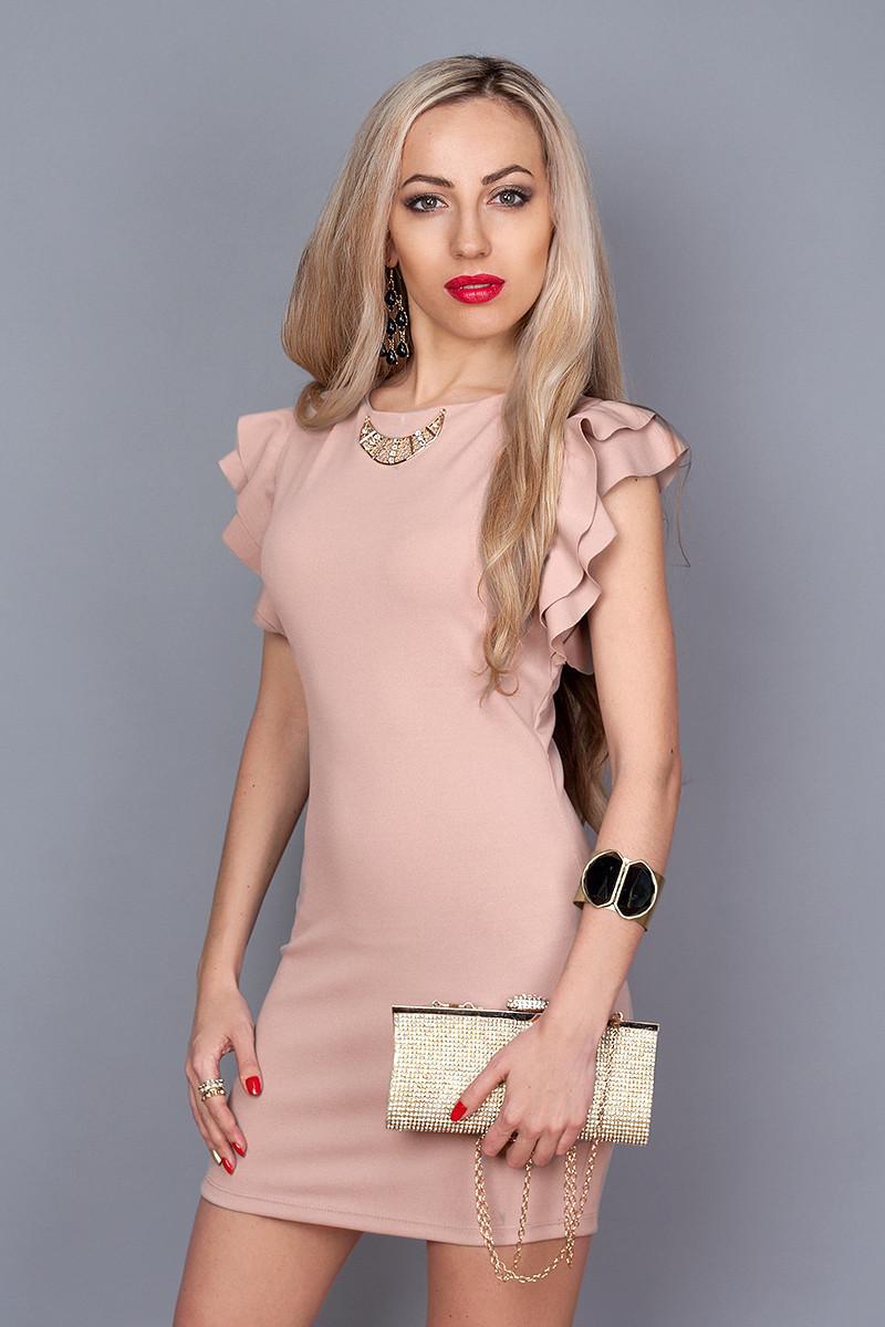 Красивое молодежное платье с рукавами-воланами розовый кварц