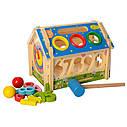 Дерев'яна іграшка конструктор Будиночок стучалка + сортер, фото 3