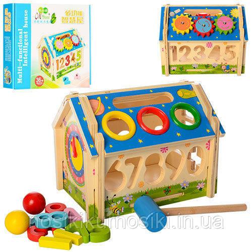 Дерев'яна іграшка конструктор Будиночок стучалка + сортер