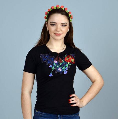 Віолетта чорна футболка з вишивкою, фото 2