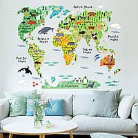 """Виниловая наклейка  """"Карта мира для детей"""""""