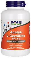 Now Acetyl-L-Carnitine 500 mg 200 veg caps, фото 1