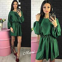 Женское модное шелковое однотонное платье (7 цветов)