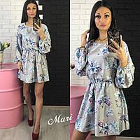 Женское модное шелковое платье с цветочным принтом (4 цвета)