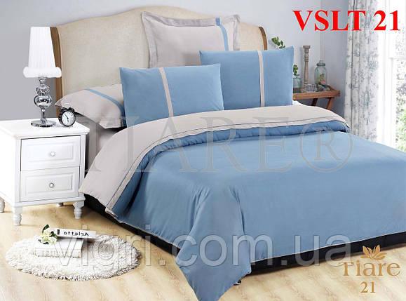 Постельное белье однотонное, евро комплект, сатин люкс Tiare, Вилюта. VSLT 21, фото 2