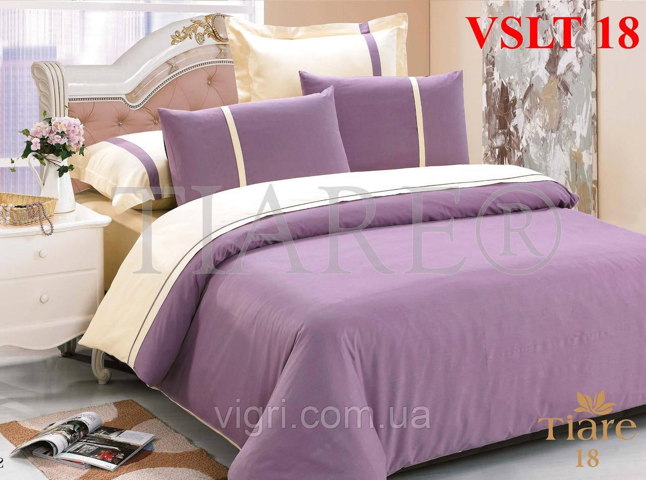 Постельное белье семейное, однотонное, сатин люкс «Tiare», Вилюта. VSLT 18