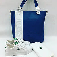 Набор: сумочка, обувь, кошелек LaCostе цвет:синий, белый