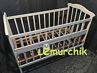 Кроватка детская белая ольха (колеса, качалка, откидной борт)