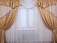 Комплект ламбрекен (№50) с шторами на карниз 2,5-3м. 050лш084