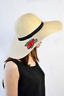 Широкополая шляпа Пальма бежевая