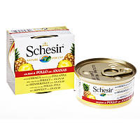 Schesir Chicken Pineapple ШЕЗИР КУРИЦА С АНАНАСОМ натуральные консервы для кошек, филе курицы с ананасом, банка 75 г