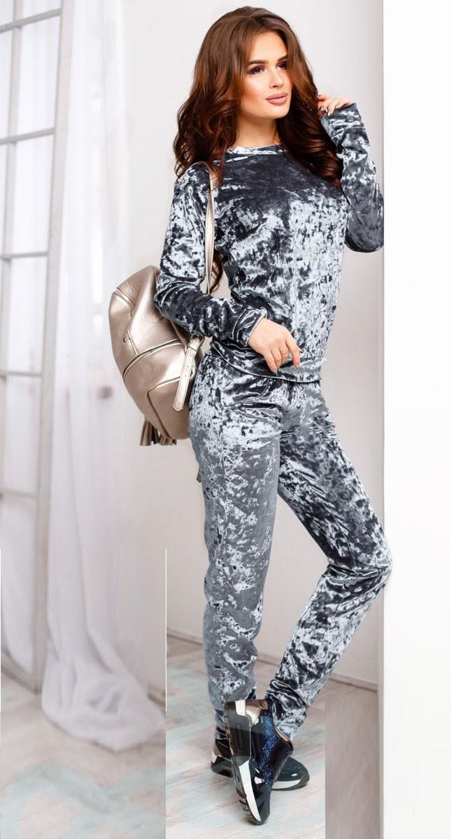 Велюровый спортивный костюм  Gr  20904  Серый, фото 3